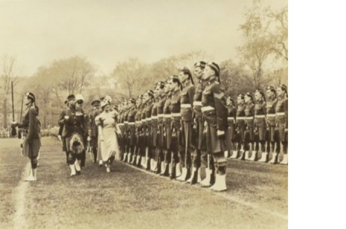 Queen Elizabeth Inspecting Troops pre WWII