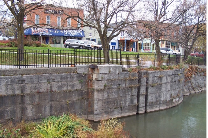 Lakeport Shops with Canal Wall in foreground